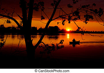 sunset in the spring lake