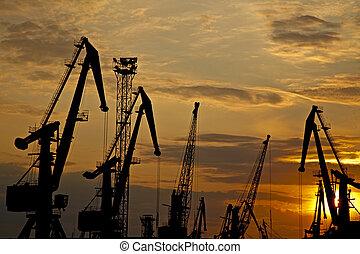 Sunset in the Ukrainian sea port