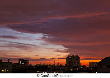 Sunset in the Urban Town