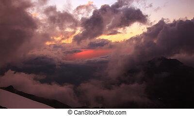 Sunset in Tian-Shian mountains.