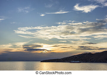 sunset in Tinos island, Greece