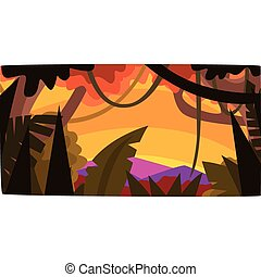 Sunset in tropical jungle, greenwood background with leaves, bushes and trees, tropical rainforest scenery vector illustration