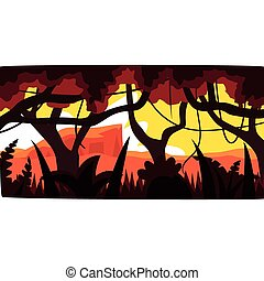 Sunset in tropical jungle, greenwood background with leaves, bushes and trees, tropical rainforest scenery at evening vector illustration