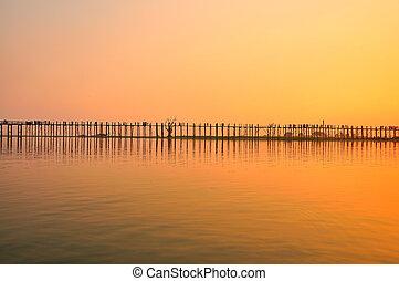 Sunset in U Bein bridge, Myanmar