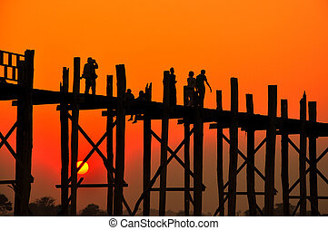 Sunset in U Bein bridge, Myanmar