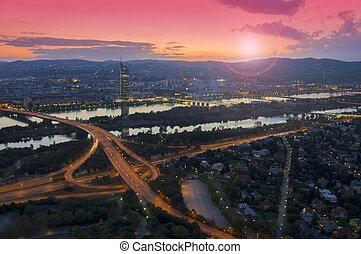 sunset in Vienna city, aerial view. Austria