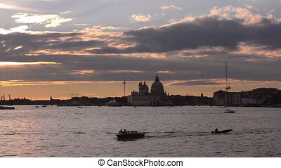 Sunset in Vinece. Cathedral of Santa Maria della Salute