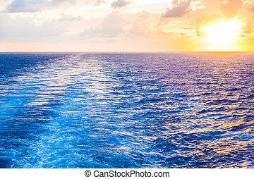 Sunset in Wake of Cruise Ship - Brilliant sunset in the wake...