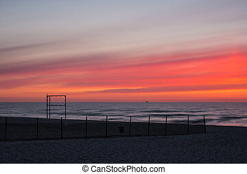 Sunset in Warnemuende (Germany).