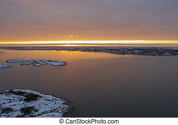 Sunset in winter in Gothenburg