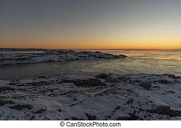 Sunset in winter in Sweden