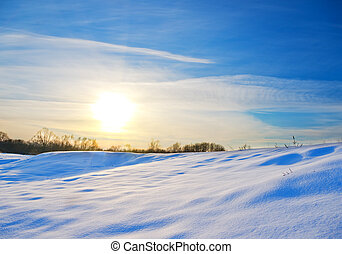 Sunset in winter time