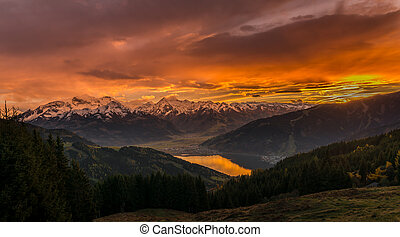 Sunset in Zell am See – Austria with view to the Zeller lake, Kaprun and the alps