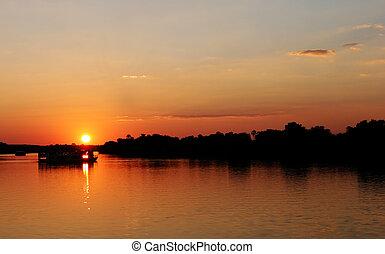 Sunset in Zimbabwe over Zambezi river