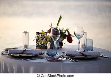 sunset., inställning, strand, romantisk middag