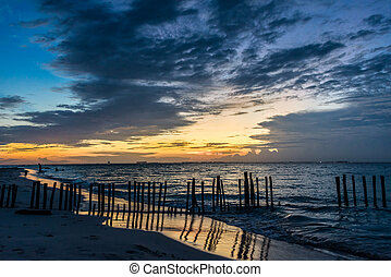 Sunset Isla Mujeres beach, tropical paradise, caribbean....