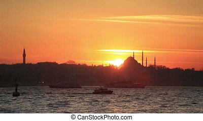 sunset Istanbul city