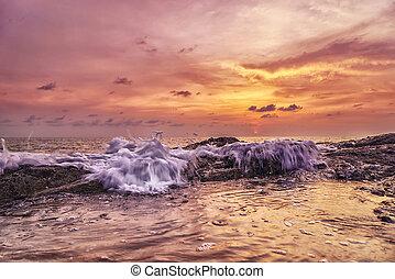 Sunset Khao Lak beach Thailand - Sunset over Khao Lak beach...