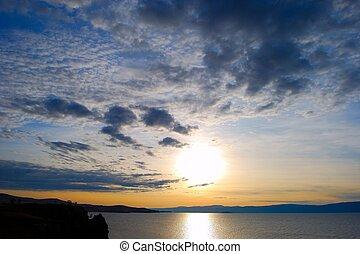 sunset., lago, baikal.