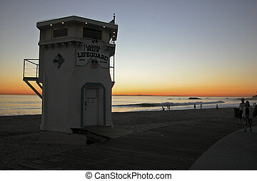 Sunset, Laguna Beach, Lifeguard Tower, California, JW 104 ...