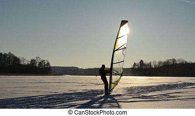 sunset lake man ice surf