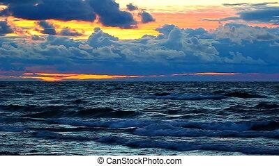 Sunset Lake Superior Waves - Sunset over crashing waves of...