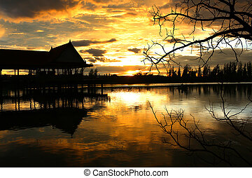 sunset lake view in thailand
