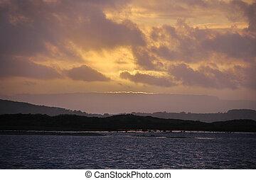 sunset land and sea