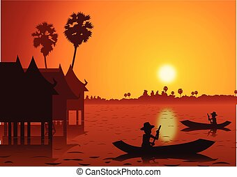 sunset landscape and rural water village with a rowing boat back to home around with nature .countryside of east lifestyle silhouette design