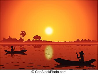 sunset landscape and with a rowing boat back to home around with nature .countryside of east lifestyle silhouette design