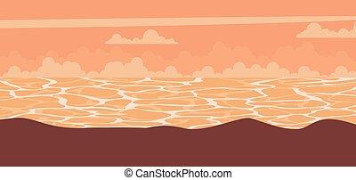 Sunset landscape background at sea