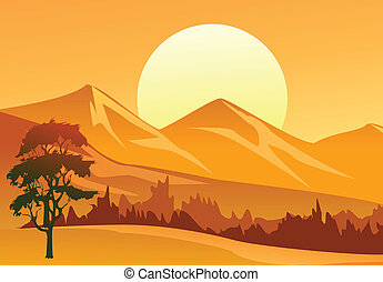 Sunset Landscape - Illustration of a sunset landscape with...
