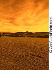 Sunset, landscape in the Czech Republic