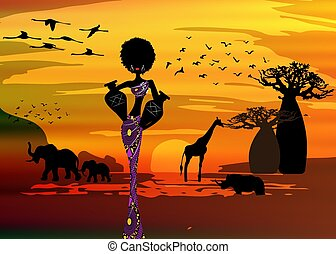 sunset landscape of forest baobab trees, elephants in the savannah and African curly woman carrying water in the pots, dressed in traditional ankara dress. Batik concept savannah safari background