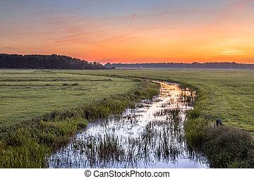 Sunset Landscape of lowland river