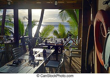 Sunset landscape in Rarotonga, Cook Islands.