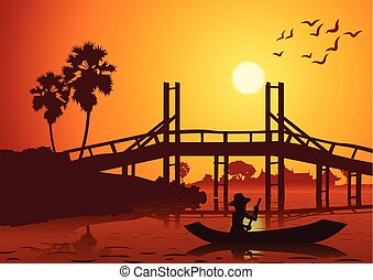 sunset landscape with a rowing boat back to home near wooden bridge around with nature .countryside of east lifestyle silhouette design