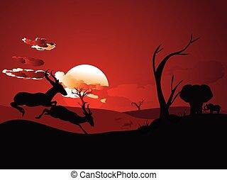 Sunset Landscape with Antelopes