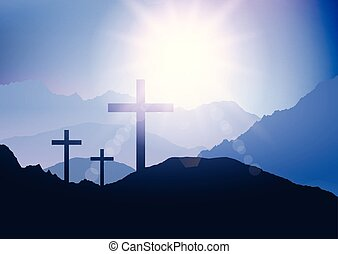 sunset landscape with cross for easter 1203