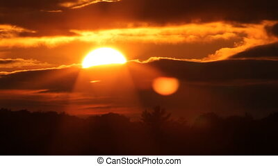 sunset., lapse., ardent, temps