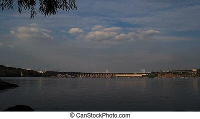 Sunset Light on Hydro Dam Timelapse