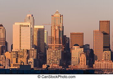 Sunset light over the skyscrapers of downtown Seattle, Washington, USA.