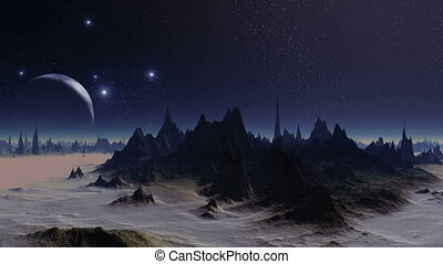 Sunset Lights Alien Planet