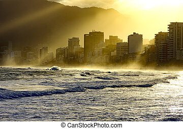 Sunset lights at Ipanema beach