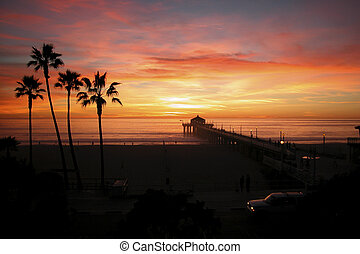 Manhattan Beach - Sunset, Manhattan Beach, Pier, California...