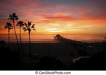 Manhattan Beach - Sunset, Manhattan Beach, Pier, California,...
