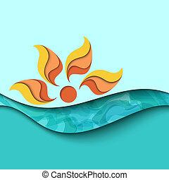 sunset., mar, plano de fondo, ondas