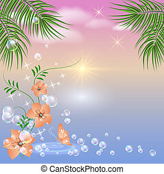 Sunset - Marine landscape with palm trees and flowers -...
