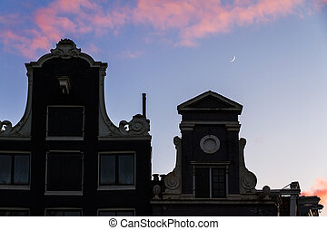 Sunset moon canal houses - Beautiful silhouettes of canal...