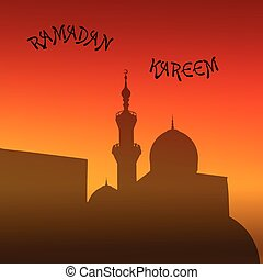 sunset mosque. landscape with beautiful mosques and minarets. Pl